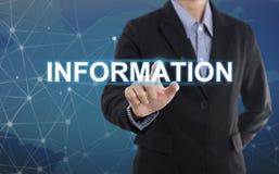 Información del botón del presionado a mano del hombre de negocios Imágenes de archivo libres de regalías
