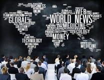 Información del evento de la publicidad de la globalización de las noticias de mundo medios concentrada Imagen de archivo libre de regalías