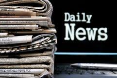 Información diaria de las noticias Foto de archivo