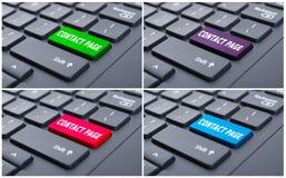 Información en línea con el botón de la página del contacto Imágenes de archivo libres de regalías