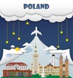 Información global del viaje y del viaje de la señal del fondo del viaje de Polonia Fotografía de archivo