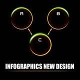 Información-gráficos en el estilo de los rayos de neón y de la esfera de la albóndiga, iluminados y brillantes Fotos de archivo