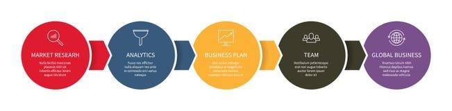 Información infographic de las opciones del diagrama de la plantilla del gráfico de negocio de los datos del panel de control del stock de ilustración
