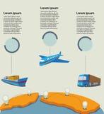 Información logística de Infographic en la colección de la globalización de Foto de archivo