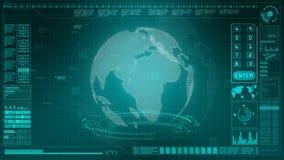 Información olográfica del fondo del interfaz de la exhibición ascendente digital de alta tecnología de la cabeza