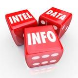 Información roja del hallazgo de las palabras de los dados de la información de datos de Intel 3 ilustración del vector