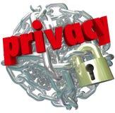 Información segura privada de la cadena de cerradura de la bola de la alambrada de la privacidad Foto de archivo libre de regalías