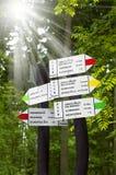Información turística sobre la ruta de la montaña, distancia, tiempo Fotografía de archivo libre de regalías
