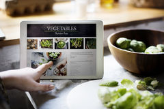 Información vegetal de los hechos de la nutrición sobre una pantalla del dispositivo fotografía de archivo libre de regalías