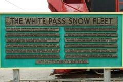 Informaci deska dla Białej przepustki Śnieżnej floty w Skagway Alask Zdjęcia Stock