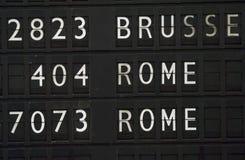 Información del vuelo para Roma Fotos de archivo libres de regalías