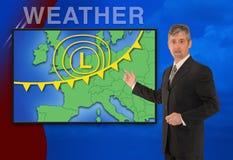 Información europea del meteorólogo del tiempo de las noticias de la TV Fotografía de archivo