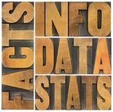 Informacja, dane, fact, stats słowa Zdjęcie Stock