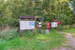 Informacja o ptakach raju połysk: Ptasi Raj rezerwat przyrody przy Sobieszewo wyspą w Gdańskim Obrazy Royalty Free