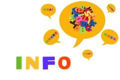 Informacja Pisać W Stubarwnych klingerytów dzieciaków listach Zdjęcie Stock