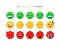 Informacje zwrotne emoticon projekta ikony płaski set Zdjęcie Stock