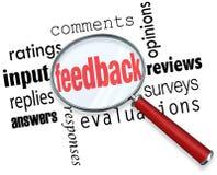 Informacje zwrotne Powiększać - szklany wkład Komentuje ocena przeglądy ilustracja wektor