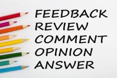 Informacje zwrotne przeglądu komentarza opinii odpowiedzi pojęcia słowa Obraz Stock