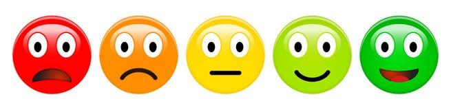 Informacje zwrotne ratingowa skala czerwieni, pomarańcze, koloru żółtego i zieleni emoticons, 3d Smiley ikony w różnych colours ilustracja wektor