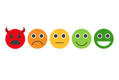 Informacje zwrotne w formie emocje, smileys, emoji Fotografia Stock