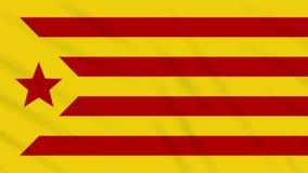 Red estelada flag waving cloth background, loop. Informal flag of Catalan lands - red estelada flag waving cloth, ideal for background, loop stock video footage