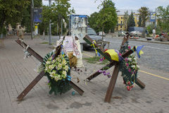 Informal memorial on the place of shooting insurgents by the pol Stock Photo
