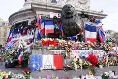 Informal memorial to victims of terrorism on Place de la Republique in Paris Stock Photography