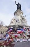 Informal memorial to victims of terrorism on Place de la Republique in Paris Royalty Free Stock Photography