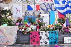 Informal memorial to victims of terrorism on Place de la Republique in Paris Stock Images