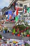 Informal memorial to victims of terrorism on Place de la Republique in Paris Stock Image