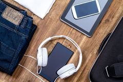 Informal outfit and electronics Stock Photos