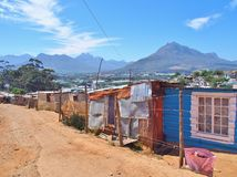 Informal settlement in South Africa with solar panels. Stock Image
