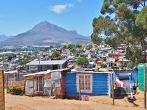Informal settlement in South Africa with solar panels. Royalty Free Stock Photos