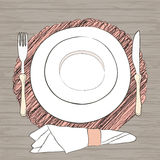 Informal vector table setting. Tableware and eating utensils are Stock Photos