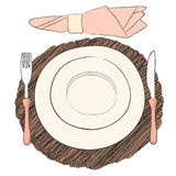 Informal vector table setting. Tableware and eating utensils  Stock Photography
