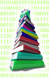 Informatic Books Pile. 3d colorful books over a background with binary numbers Stock Photos