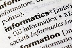 Informatics. Definition of the term, english Stock Photo