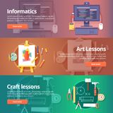 Informatics lesson. Computer technologies. Information technology. Informatics lesson. Computer technologies. Information technology. Art and crafting classes Royalty Free Stock Photography