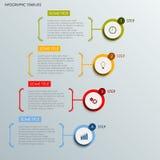Informatie grafisch met abstract rond etikettenmalplaatje Stock Afbeelding