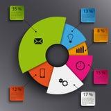 Informatie grafisch met abstract rond grafiekmalplaatje Stock Afbeeldingen