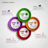 Informatie grafisch met de gekleurde elementen van ontwerpcirkels Stock Afbeelding