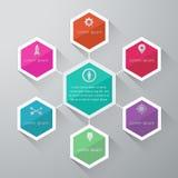Informatie grafisch ontwerp op de grijze achtergrond Royalty-vrije Stock Foto's