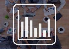 Informatie grafisch tegen vergaderingsachtergrond royalty-vrije illustratie