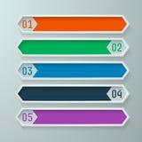 Informatie grafische die banners in een diamantpatroon worden geplaatst in warme kleuren Stock Foto