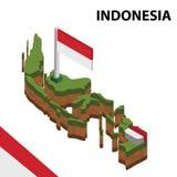 Informatie grafische Isometrische kaart en vlag van INDONESI? 3d isometrische vectorillustratie royalty-vrije illustratie