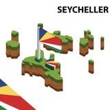 Informatie grafische Isometrische kaart en vlag van SEYCHELLEN 3d isometrische vectorillustratie royalty-vrije illustratie