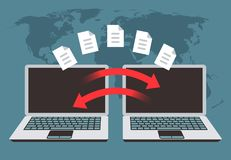 Informatie-uitwisseling tussen computers Dossieroverdracht, gegevensbeheer en reservebestanden vectorconcept stock illustratie
