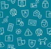 Informatiebescherming, naadloos patroon, vlak blauw, Stock Afbeelding