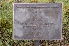 Informatieplaque voor bronsstandbeeld van Benito Juarez in Benito Juarez Parque de Heroes, Dallas City Park in Dallas, Texas stock foto's