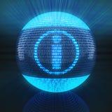 Informatiesymbool op bol door binaire code wordt gevormd die Royalty-vrije Stock Afbeelding